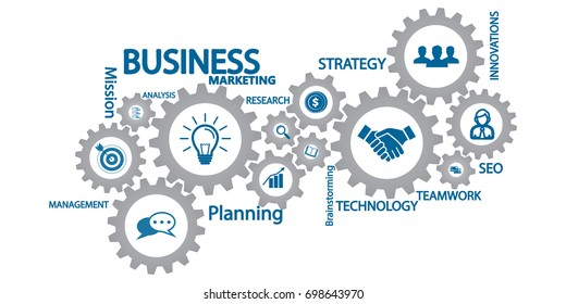 Business mechanism concept. Abstract background with connected gears and icons for strategy, service, analytics, research, seo,digital marketing, communicate concepts. Vector infographic illustration