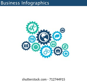 Business mechanism concept. Abstract background with connected gears and icons for strategy, service, analytics, research, seo, digital marketing, communicate concepts. Vector infographic illustration