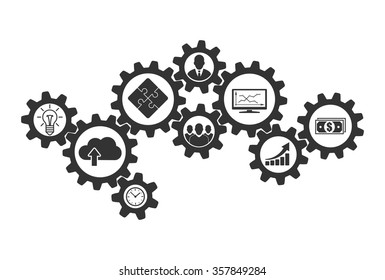 Business mechanism concept of cooperation and communications. Contacting gears for teamwork design and business problems collaboration solution. Vector infographic template with gear and icons.