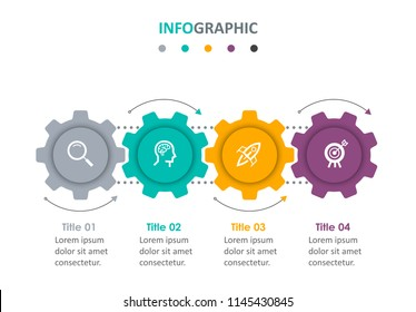 Business mechanism Infographic design template with icons and 4 options or steps.  Can be used for process diagram, presentations, workflow layout, banner, flow chart, info graph.