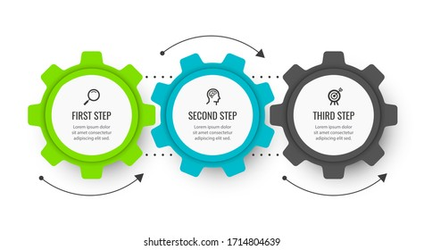 Business mechanism Infographic design template with icons and 3 options or steps.  Can be used for process diagram, presentations, workflow layout, banner, flow chart, info graph.