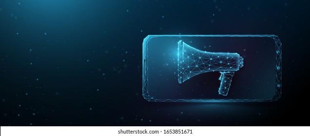 Werbung in Wirtschaftsmedien oder digitales Internet-Marketing-Symbol. Smartphone mit Megaphon. Linien, Dreiecke und Partikeldesign