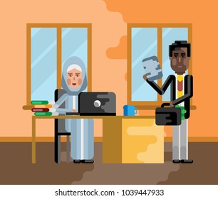 Business meeting african businessman with arabic businesswoman in office. Corporate multicultural business people vector illustration.