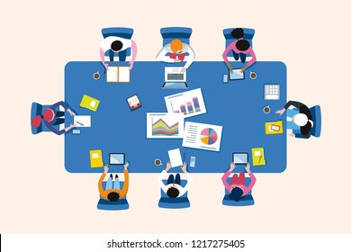 Business Meeting Arround a Conference Table in a Top View. Vector illustration.