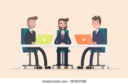 Business meeting at the big table, led by the head of the company. Vector illustration in a flat style.