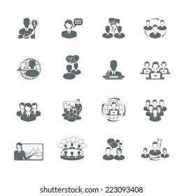 Business meeting black icons set of presentation teamwork management elements isolated vector illustration