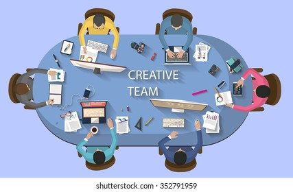 Business meeting and brainstorming. Business concept. Business concept. Work place. Flat design.