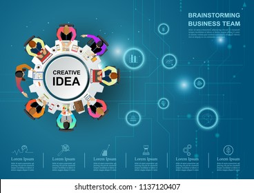 Business meeting and brainstorming. Idea and business concept for teamwork. Vector illustration infographic template with people, team.