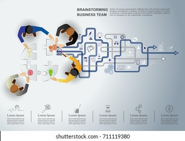 Business meeting and brainstorming. Idea and business concept for teamwork. Vector illustration infographic template with people, team and icon.