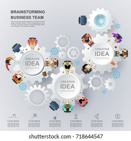 Business meeting and brainstorming. Idea and business concept for teamwork. Vector illustration infographic template with business team ,gear and people.