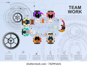 Business meeting and brainstorming. Idea and business concept for teamwork. Vector illustration infographic template with people and team.