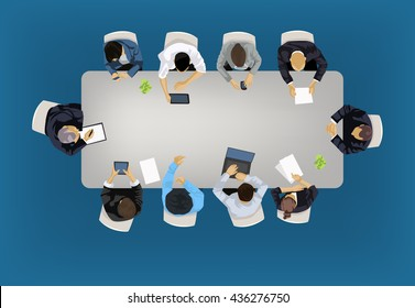Business meeting concept illustration in an aerial view with people sitting around a conference table