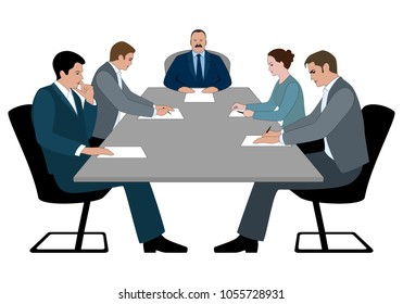 Business meeting and business conference concept. Boss and staff discussing something sitting at table. Business meeting silhouette vector illustration isolated on white.