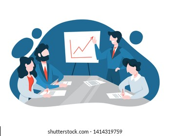 Business meeting in the conference room concept. Team on the seminar and man making presentation for colleagues. Company office interior. Vector illustration in cartoon style