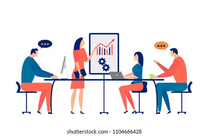 Business meeting of corporate office staff. Professional training and study. E-learning. Development, market analysis, creative ideas. Vector illustration