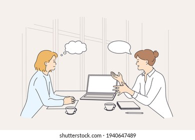 Business meeting, discussion, brainstorm concept. Two smiling businesswomen colleagues partners cartoon characters having meeting using laptop in office discussing strategy vector illustration