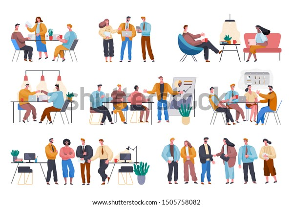 Business meeting of entrepreneurs and workers. People in office discussing plans and strategies of company. Business team working in office sitting by tables and listening to presentation. Teamwork