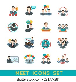 Business meeting flat icons set of partnership planning conference elements isolated vector illustration.