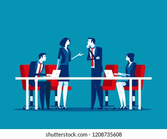 Business meeting. Group of company strategy conference. Concept business vector illustration, Team meeting, Members, Discussion, Flat business cartoon.