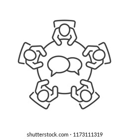 Business meeting icon. Group of five  people sitting around a table  brainstorming and working together for a new project. Top view line vector design.