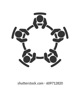 Business meeting icon. Group of five people sitting around a table brainstorming and working together on new creative projects. Top view vector design.