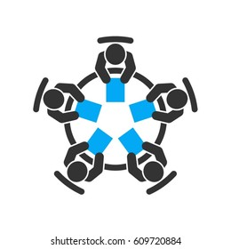 Business meeting icon. Group of five people brainstorming and working together around a table. Top view vector design.