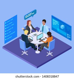 Business meeting in international company isometric vector illustration