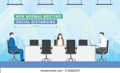 Business meeting lifestyle after pandemic covid-19 corona virus. New normal is social distancing and wearing mask. People keeping distance in office conference room. Flat design style vector concept.