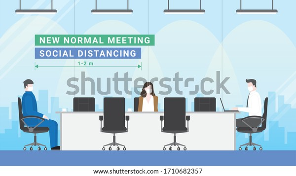 Business Meeting Lifestyle After Pandemic Covid19 Stock Vector
