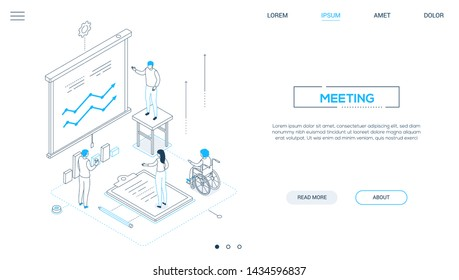 Business meeting - line design style isometric web banner on white background with copy space for text. A header with male advisor, consultant showing diagrams on whiteboard, colleagues making notes