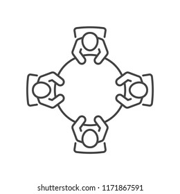 Business meeting line icon. Top view of people sitting around a table brainstorming and planning for a new project.