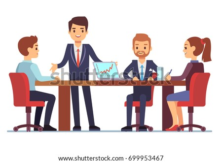 business meeting office conference table talking stock vector