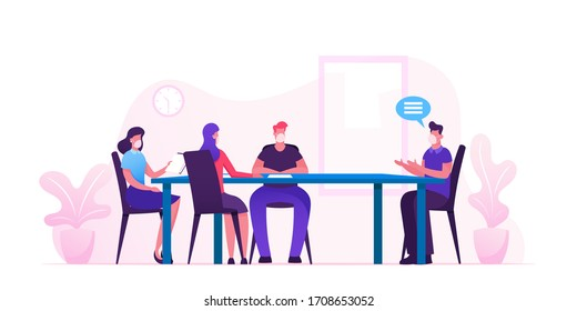 Business Meeting in Office during Covid19 Pandemic. Businesspeople Characters in Medical Masks around Table Planing Start Up Project and Solving Finance Problems. Cartoon People Vector Illustration
