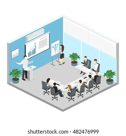 Business meeting in an office Business presentation meeting in an office around a table. Isometric flat 3D interior
