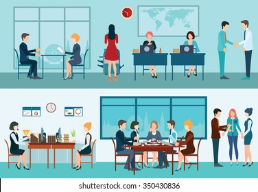 Business meeting, office, teamwork, planning, conference, office desk, brainstorming in flat style, conceptual vector illustration.