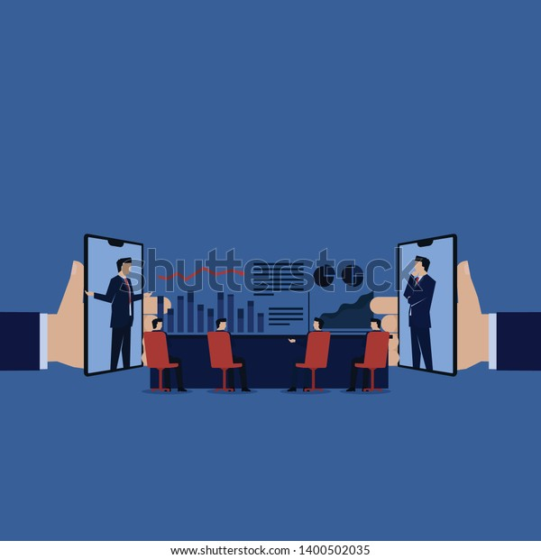 Business Meeting Online Phone Laptop Discussion Stock Vector