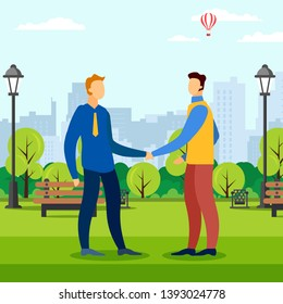 Business Meeting in Park Area. Men Shaking Hand. Mens Handshake. Business Meeting in Summer Park. Park Area. Work on Open Air. Vector Illustration. Creative Approach. Business Partner Talk.
