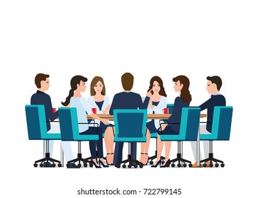 Business meeting with business people discussing on around table isolated on white, Business conceptual vector illustration.
