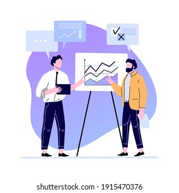 Business meeting presentation charts and diagramm on board. Professional business communication and working management. Vector illustration