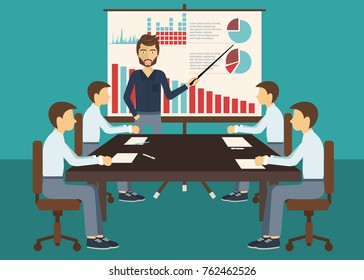 Business meeting, presentation or conference in office. Business people discussing about business plans concept. Flat vector illustration