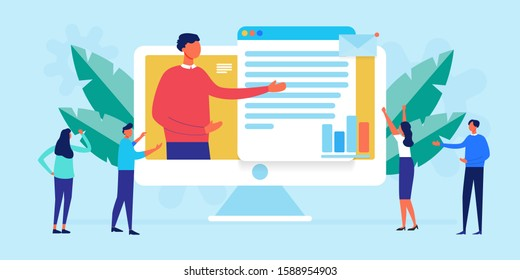 business meeting and presentation with online video conference in office with manager. People video calling and talking about data analysis, consultation, seminar, online training, school courses.