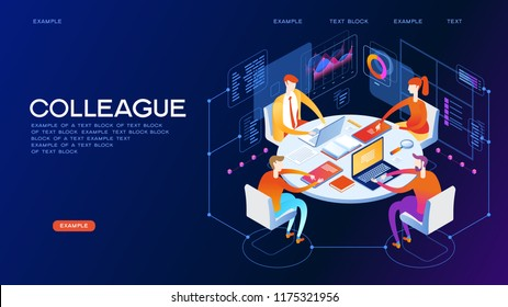 Business meeting. Presentation of the project.Isometric business people talking conference meeting room. Team work process.