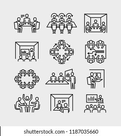 Business Meeting Room Vector Line Icons