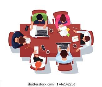 Geschäftstreffen halb flach RGB Farbe Vektorbild. Brainstorming im Büro Konferenzraum. Männliche und weibliche Unternehmenskräfte isolierten Zeichentrickfiguren auf weißem Hintergrund