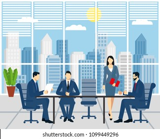 business meeting, signing a contract. businessmen in business suits are sitting at a table in the office. Business meeting in the company. Office Work, workflow, coworking, Teamwork