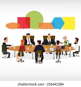 Business Meeting and Speech Bubbles. vector illustration.