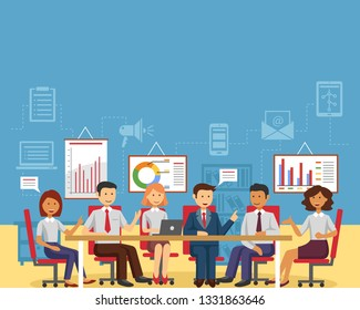 Business meeting for business startup, Launch work and people concept. Landing page template. Conceptual isometric vector illustration for web and graphic design.