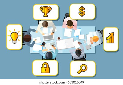 Business meeting strategy brainstorming concept. Vector illustration in an aerial top view with people sitting in an office around a conference table with ideas and keys to success