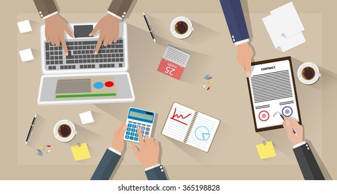 Business meeting and team work. Businessman with laptop, calculator, contract papers, coffee cups, pen, calendar and notes on desk with shadows. vector illustration in flat design on brown background