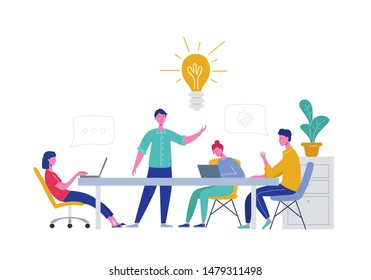 Business Meeting Teamwork Concept. Businessman and Woman Characters with Laptop. Colleagues Characters Communicating Brainstorming, Discussion Idea. Vector flat cartoon illustration